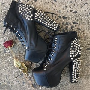 🌿 jeffrey campbell black and silver spiked lita
